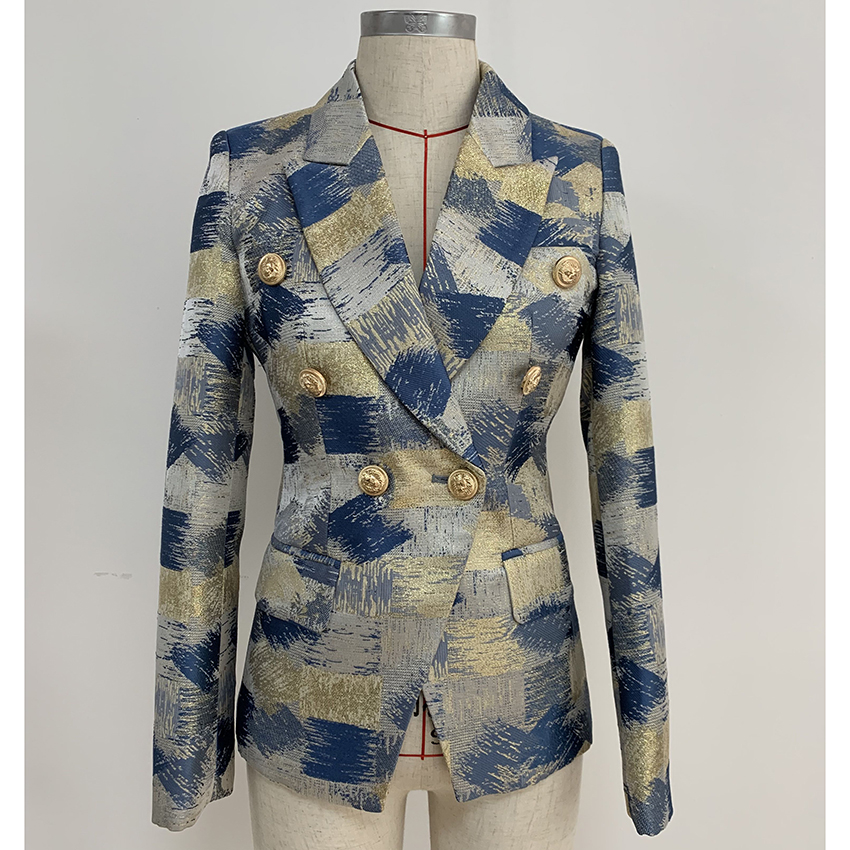TOP QUALITY Stylish 2019 Designer Blazer Women's Lion Buttons Double Breasted Colo Block Jacquard Blazer Jacket Outer Wear