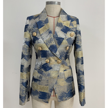 TOP QUALITY Stylish 2021 Designer Blazer Women's Lion Buttons Double Breasted Colo Block Jacquard Blazer Jacket Outer Wear