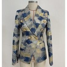 최고 품질 세련된 2020 디자이너 블레이저 여성용 사자 단추 더블 브레스트 콜로 블록 자카드 블레이저 자켓 겉옷