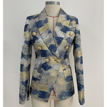 TOP QUALITY Stylish 2020 Designer Blazer Womens Lion Buttons Double Breasted Colo Block Jacquard Blazer Jacket Outer Wear