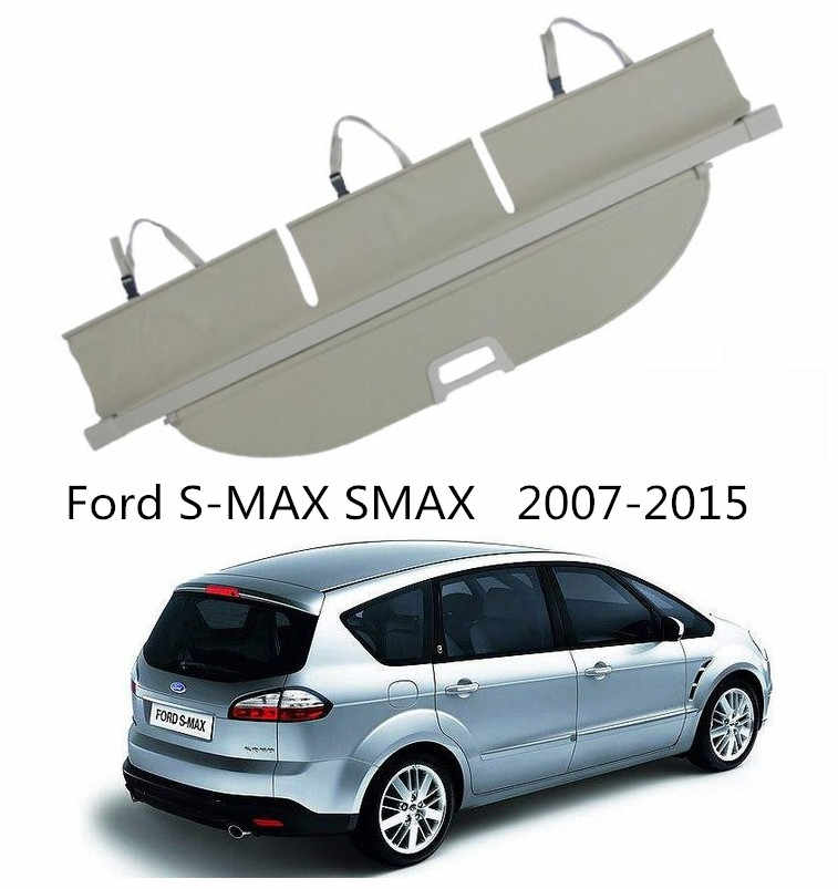 Voor Ford S-MAX S MAX 2007-2015 Kofferbak Security Shield Cargo Cover Hoge Qualit Auto Accessoires Zwart Beige