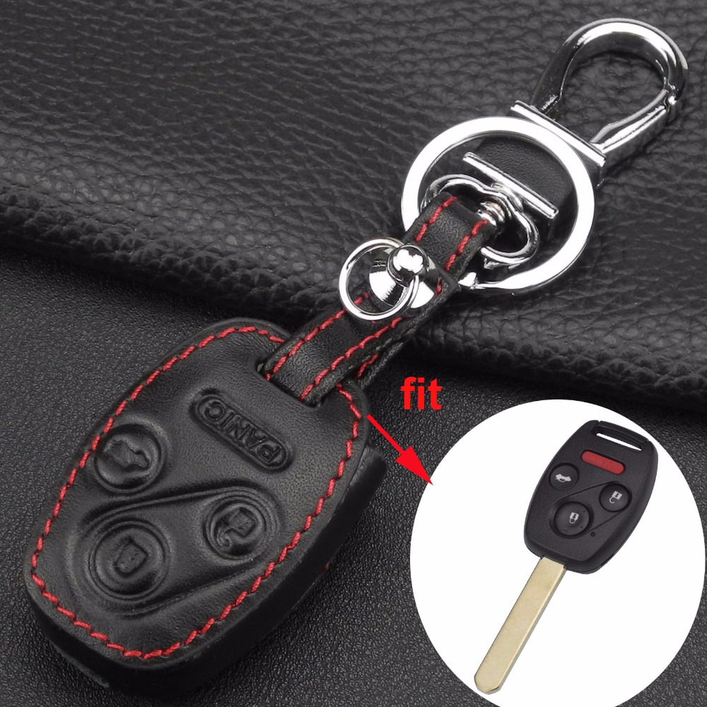 jingyuqin Remote Leather Key Case Cover For Honda Accord CR-V Civic Insight Ridgeline 4 Buttons 3 Button+Panic New Holder Cover