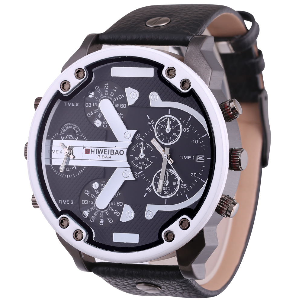 top luxury dz style mens watches cool quartz watch for men black leather strap dual time zones male clock (6)