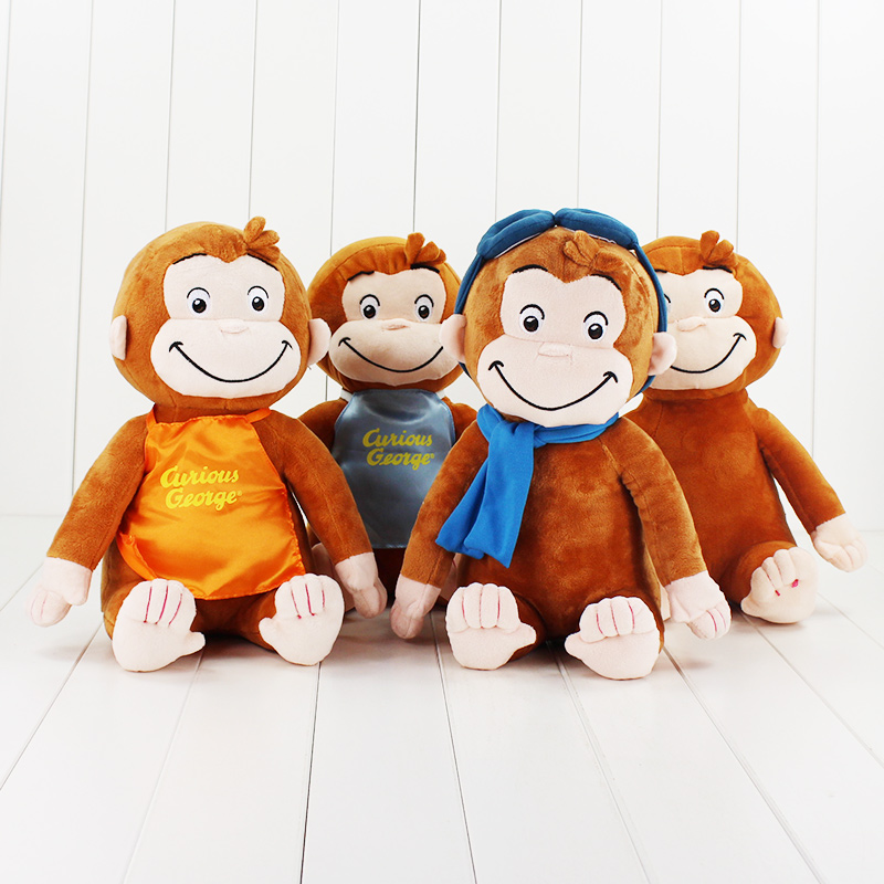 30CM CURIOUS GEORGE Monkey Plush Dolls Toys Stuffed Animals Plush Kids Christmas Birthday Gifts 4 Style