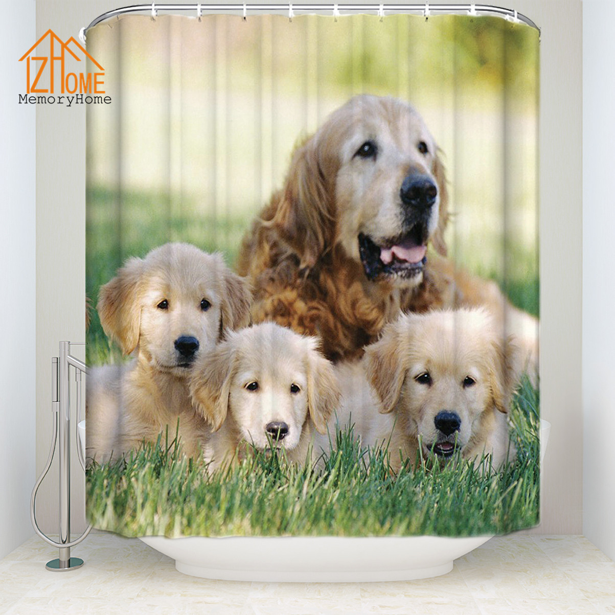 Memory Home 3d Bath Curtain for The Bathroom Dog Bath Screen Fabric <font><b>Kids</b></font> Funny Animal Shower Curtain with Hooks Home Decoration