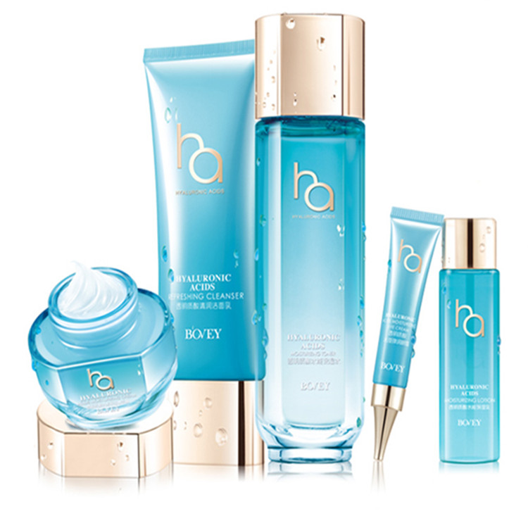 Bovey 5 in 1 skin care set Hyaluronic acid HA moisturizing gift box hydrating cleanser face toner lotion cream eye cream WS5529 цена 2016