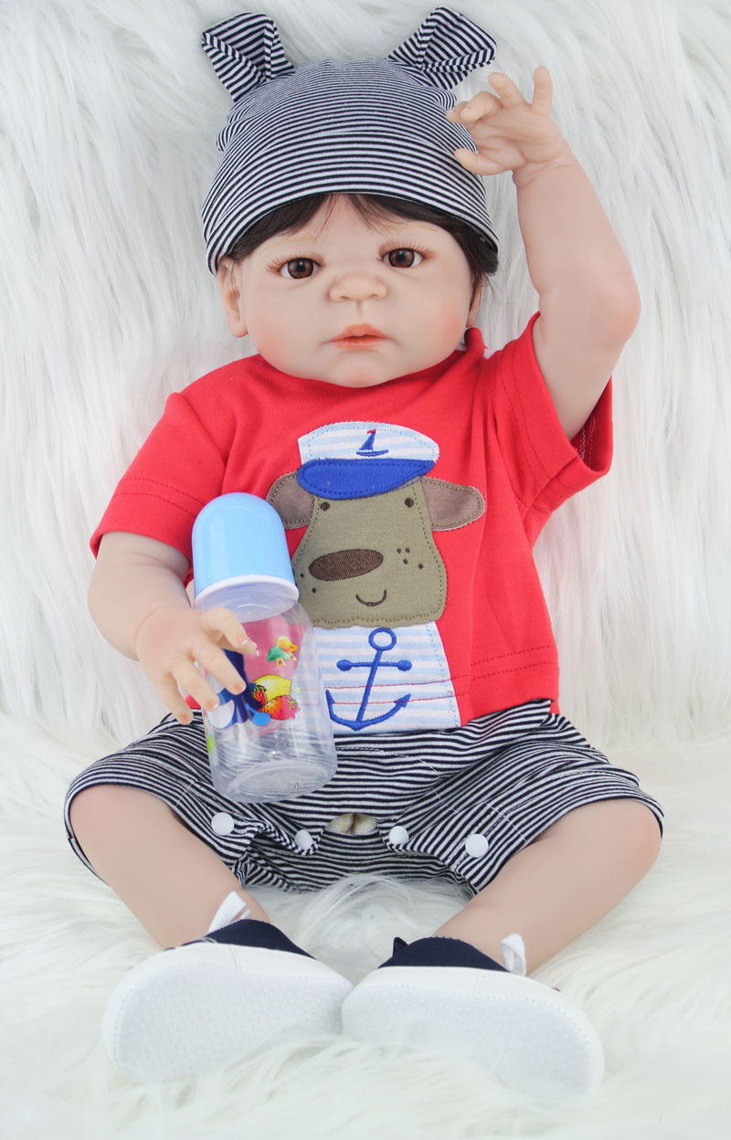 22 Full Body Silicone Reborn Bébé Garçon Réaliste 55 cm Nouveau-Né Garçon Bébés Poupée Beau Cadeau D'anniversaire Garçon et Fille Croissance partenaire