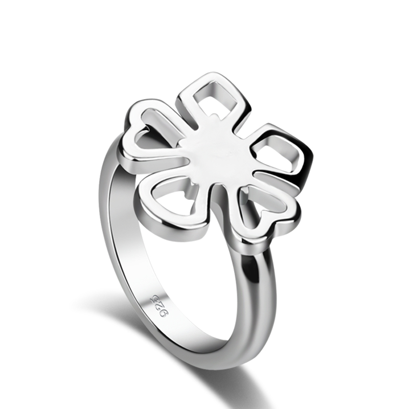 Fashion women sterling silver ring.Personality clovers index finger ring.Solid solid 925 silver ring.Charming lady jewelry