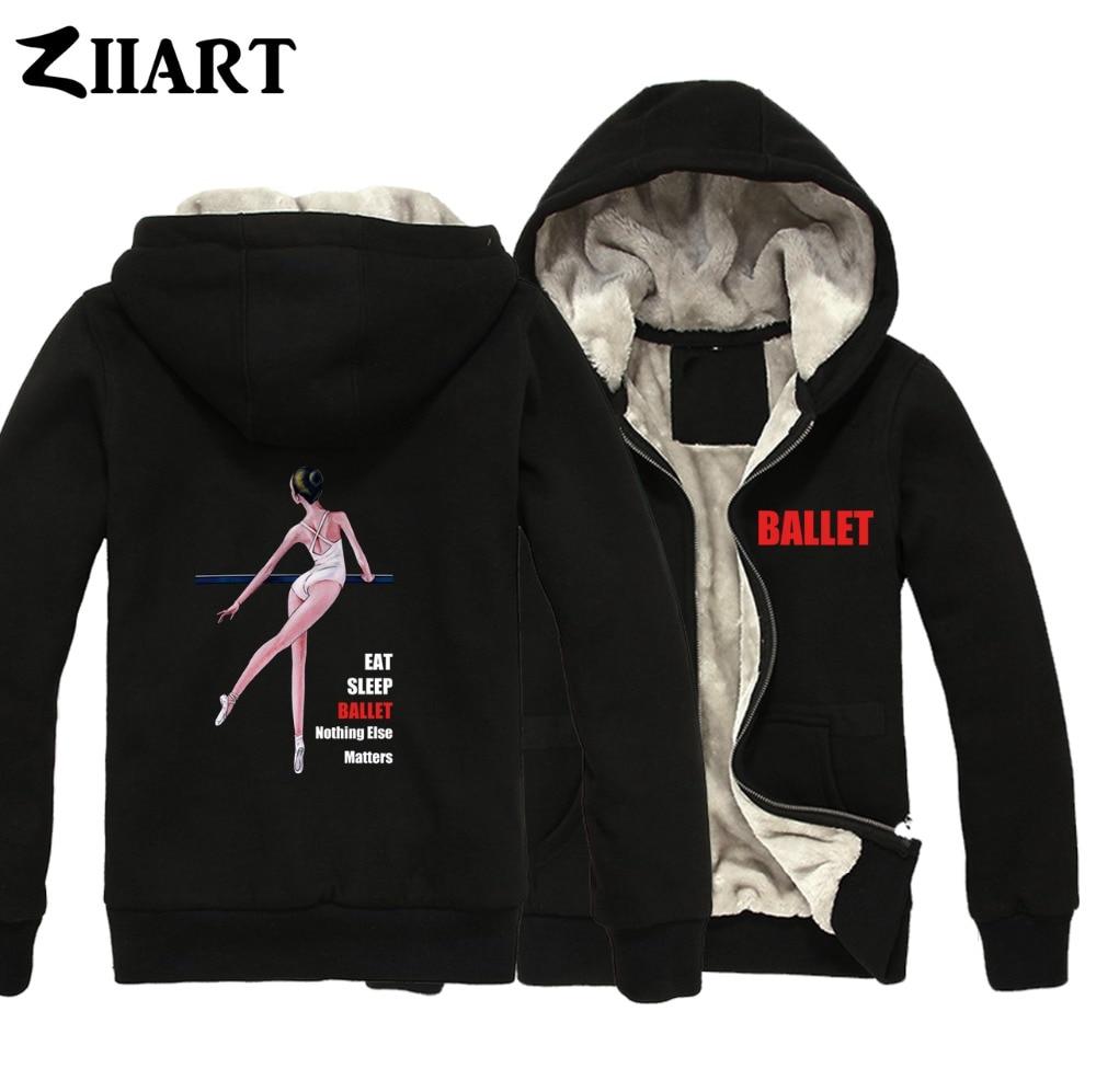 Ballet Dancer Life Eat Sleep Ballet Nothing Else Matters Boys Man Male Full Zip Autumn Winter Plus Velvet   Parkas   ZIIART