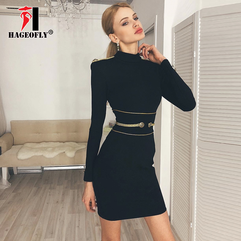 HAGEOFLY New Long Sleeve Bandage Dress for Women Sexy Black Sheath Stand Neck Slim Winter Dress