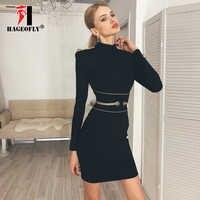 HAGEOFLY New Long Sleeve Bandage Dress for Women Sexy Black Sheath Stand Neck Slim Winter Dress Runway Women's Vestido drop Ship