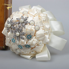 2016 New Milk Brooch Flower Bouquets Artificial Bridal Flowers Wedding Bouquet Crystal Pearls Bridesmaid WP021