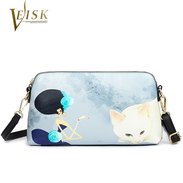 2016 Women Messenger Bags High Quality Small Shell Shoulder Bag Fashion Cat Printing Crossbody Satchel Bag for Women Handbag