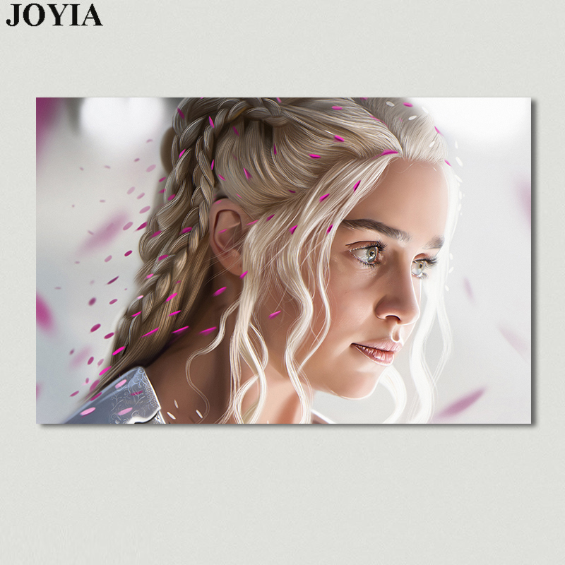 Daenerys Targaryen, Game of Thrones Poster, Emilia Clarke Beautiful Silver Hair Art Wall Canvas Painting, Wall Decor Picture ...