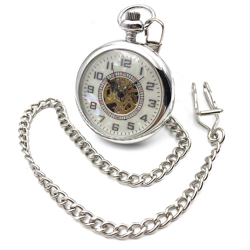 Open Face Silver Tone Skeleton font b Steampunk b font Arabic Number Dial Hand Wind Mens