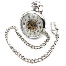 Open Face Silver Tone Skeleton Steampunk Arabic Number Dial Hand Wind Mens Mechanical Pocket Watch W/Chain Reloj De Bolsillo