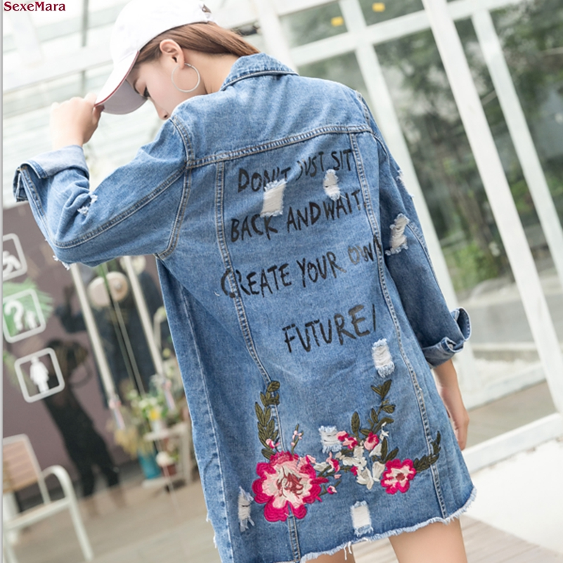 SexeMara Autumn new Loose embroidery Holes Cowboy   trench   coat free shipping