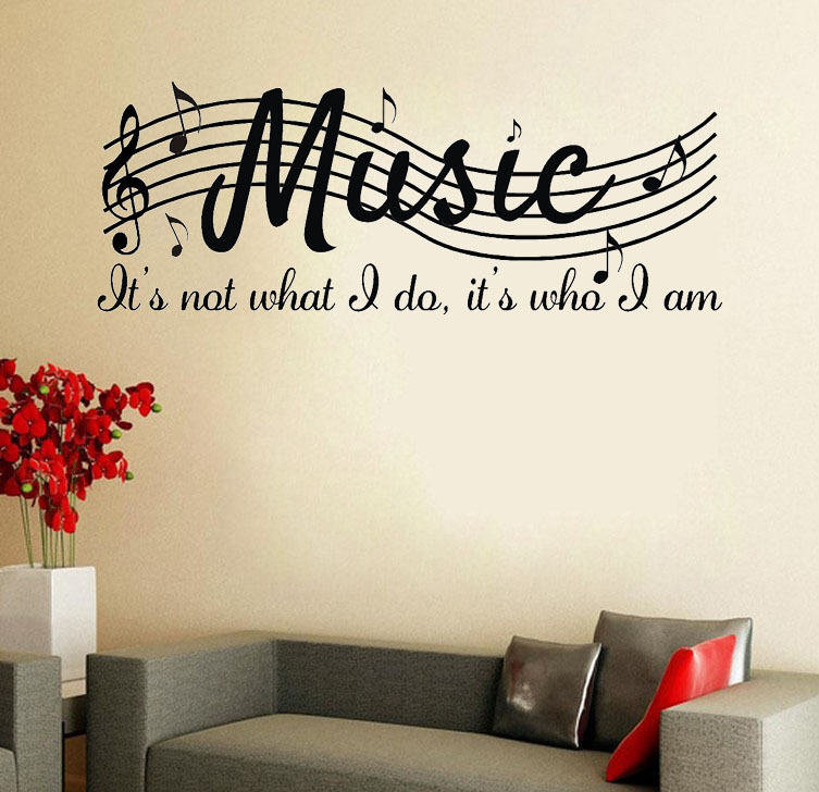 Word Wall Art Vinyl Lettering Home Decor ~ Music is not wall say quote word lettering art vinyl