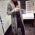 Sweatercoat Мужчины 2016 зима Осень С Капюшоном Корейский Стиль slim fit Длинные мужской Джемпер Трикотажного компьютер hombre Трикотаж свитер пальто