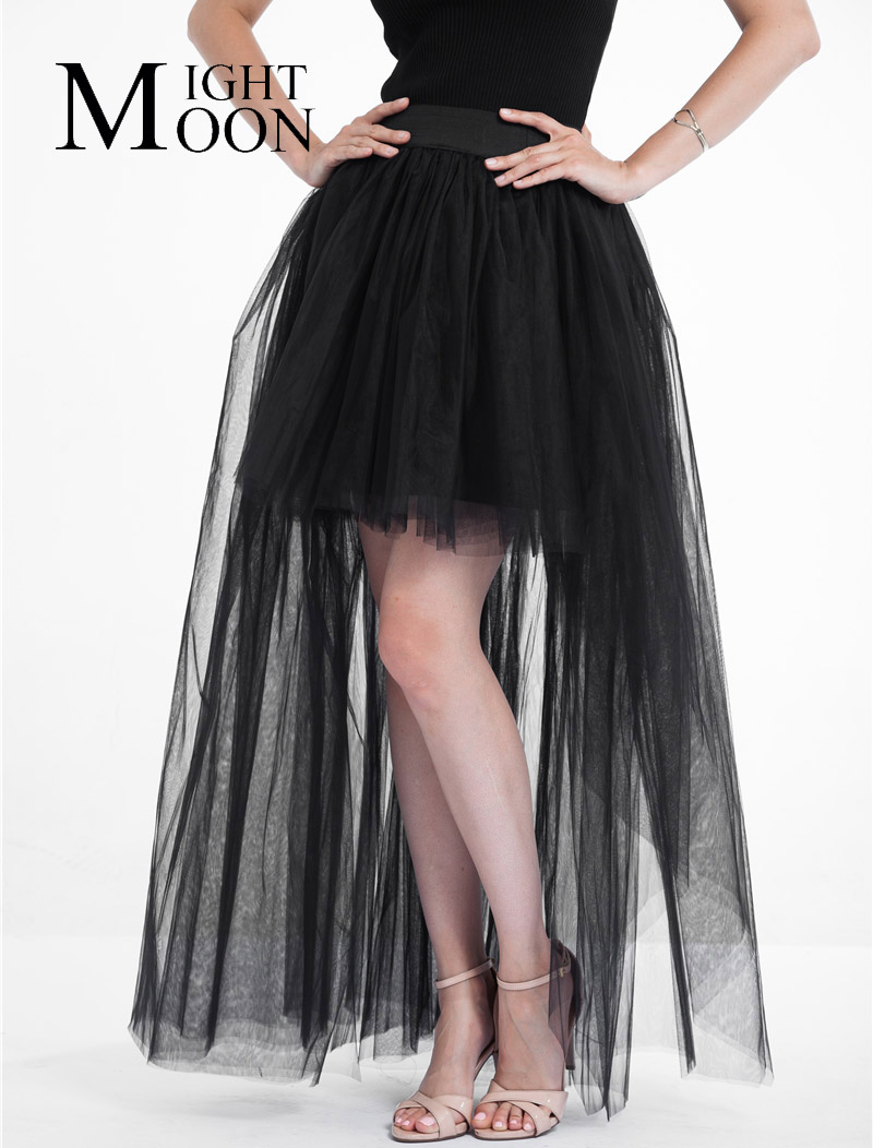 MOONIGHT Casual Gauze Swallowtailed Skirt Tutu Skirt Women Black Lace Mesh Irregural Perspective Tulle Skirts