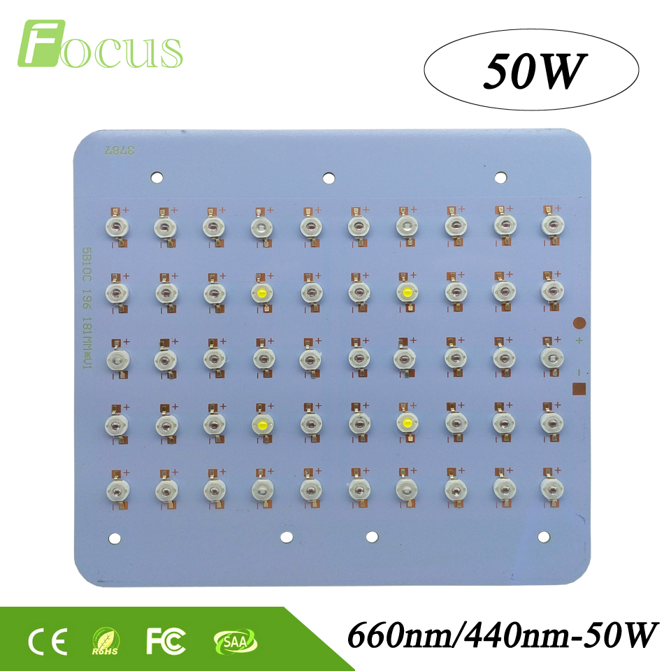 High Power 50W Grow Light 440nm+660nm+6500K 30mil LED Chip DIY Plant Grow System For Indoor Plants Greenhouse High Yield 2pcs 30mil 10w 660nm plant grow lights led chip dc6 7v 1000ma excellent quality light source for plant grow faster and batter