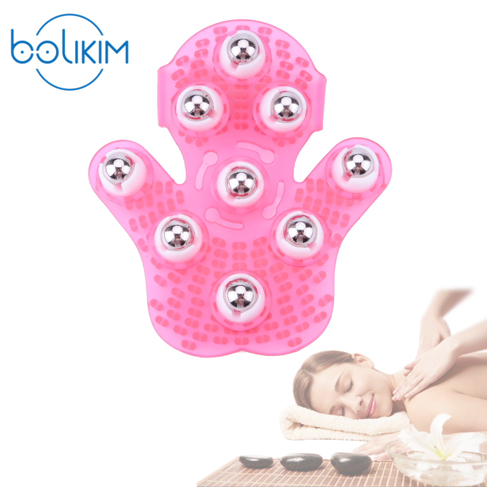 BOLIKIM Brand Ball Massage Roller Steel Ball Relax Body Massage Face Neck Leg Handheld Anti Cellulite Massage Massager Glove jade massage roller face massager facial relaxation slimming tools face relif anti wrinkle anti cellulite body massage tool girl