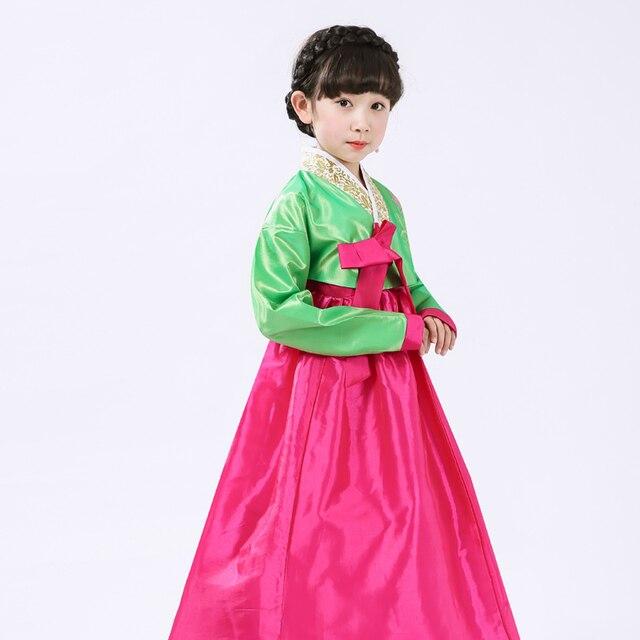 2019 New Children Hanbok Dress Korean Costume Kids Traditional Dance Stage Cosplay