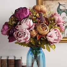 Elegant Artificial Flowers Peony Wedding Bouquets 2017 for Brides dark purple decoration mariage Accessories