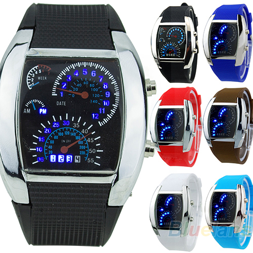 2018 New HOT SALE RPM Fashion Turbo Blue Flash LED Mens Sports Car Meter Dial Watch  Birthday Gifts