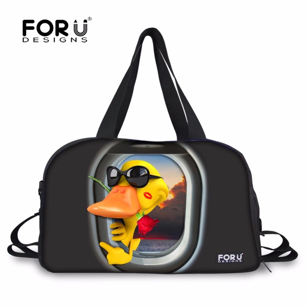 FORUDESIGNS Vicces kacsa nagy nagy holdall tornaterem táska kézitáskák sporttáska táskához utazó nők fitness jóga mat táska vízálló táskák