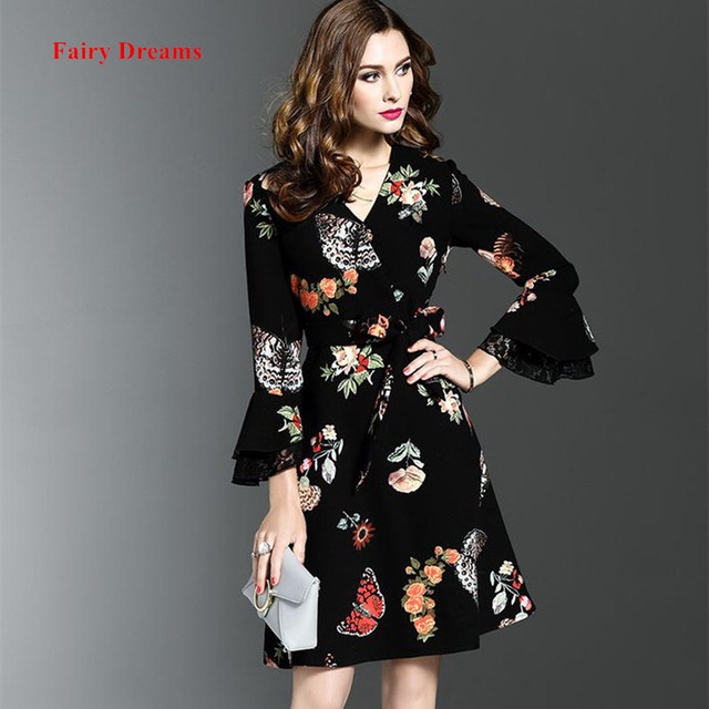 Fairy Dreams Womens Dress 2017 New Style Butterfly Print Black ...