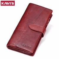 KAVIS Genuine Leather Women Wallet Female Long Clutch Lady Walet Portomonee Rfid Luxury Brand Money Bag For Girls Red Coin Purse