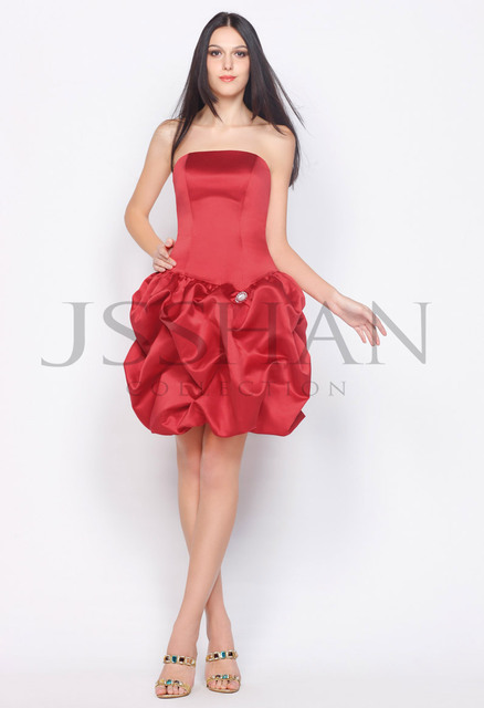 12C042 Classic Strapless Matte Satin Pick-Ups Skirt Elegant Gorgeous Brilliant Luxury Unique Cocktail Party Dress Party Dress