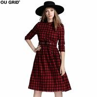 Vintage Dress 2016 New Stand Callor Three Quarter Sleeve Autumn Dress Fashion Black Red Plaid Dress Plus Size XL-5XL