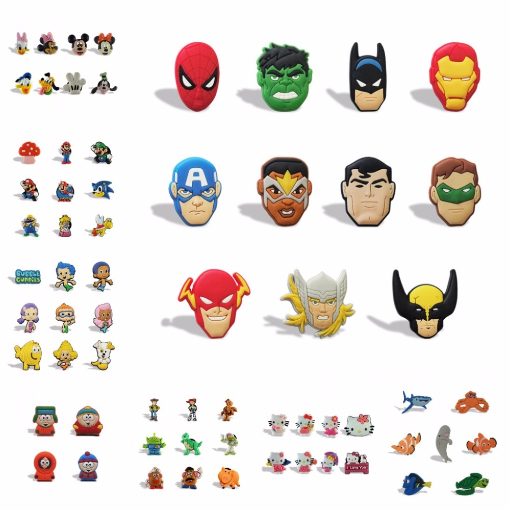 160pcs Superhero Cartoon Pvc Shoe Buckles Shoe Charms Fit For Shoes&wristbands With Holes Furniture Accessories Kids Favors Furniture Accessories