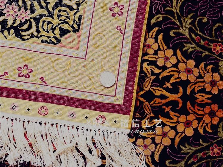 5'x7. 5' tapis de soie persan fait main rouge tapis de zone de tissage à la main - 3