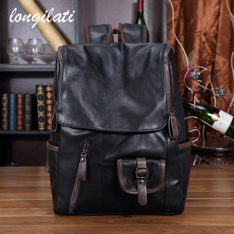 Men Backpack Leather Casual Travel Backpacks Laptop Travel Rucksack Male School Bags Mochila Masculina Sac a Dos Rugzak Zaino man s oxford backpack travel laptop backpack men large capacity rucksack shoulder school bag mochila escolar sac a dos