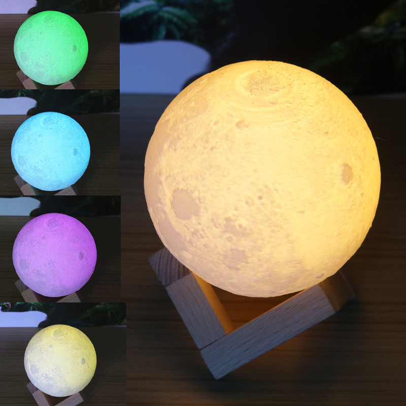 Rechargeable 3D Print Moon Lamp 7 Colors Change Touch Switch Bedroom Bookcase Night Light Home Decor