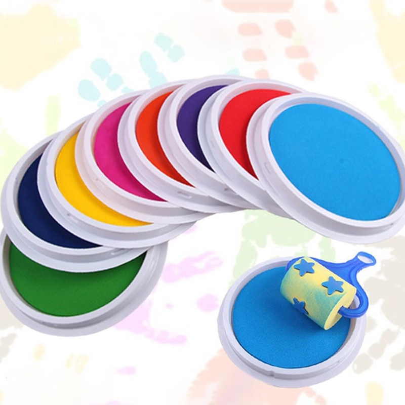 Baby Painting Inkpad Drawing Toys Kids Funny Graffiti Colored DIY Finger Painting Drawing Toys Washable Craft Inkpad Stamps Toys