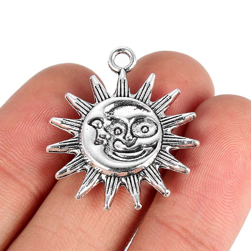 TJP 10pcs Antique Silver Tone Sun Flower Charms Pendants for Necklace Bracelet Jewelry Making Findings 28x25mm