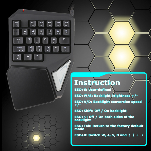 Delux T9 Plus 29 Keys Programmable Mechanical One/Single Hand USB Wired LOL DOTA 2 Esport Gaming Keyboard RGB LED Backlit light