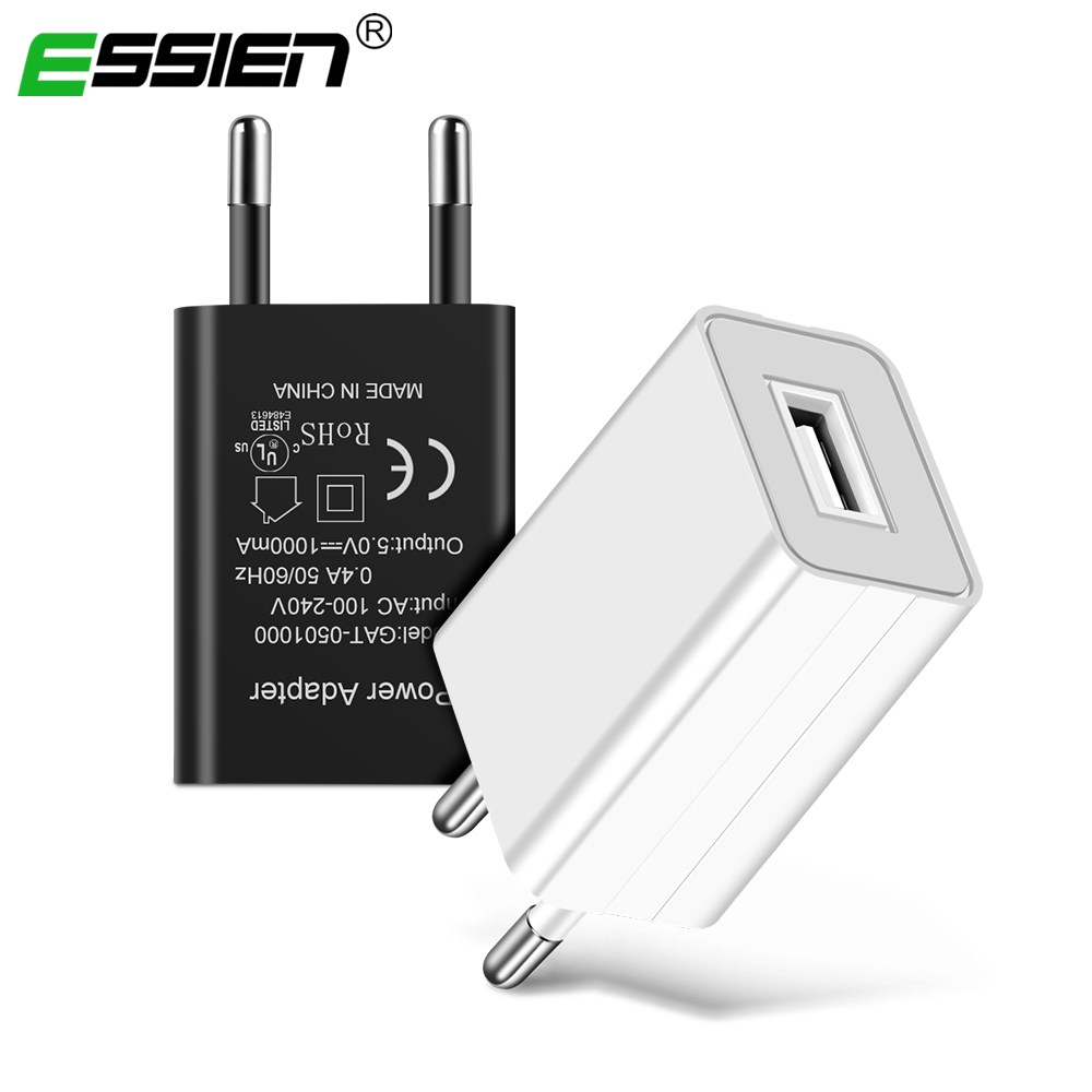 ESSIEN Mobile Phone Charger 5V 1A USB Travel Charger Portable Wall Adapter EU Plug for Xiaomi Redmi Note 4/Pro/Mi/Max/4x/4a