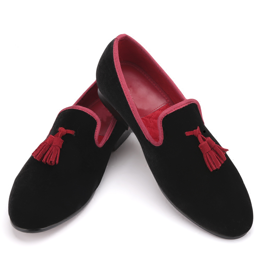Red and Black Leather Tassel Men shoes Men's Party Wedding Shoes Men velvet loafers Men's Flats shoes men loafers paint and rivet design simple eye catching is your good choice in party time wedding and party shoes men flats