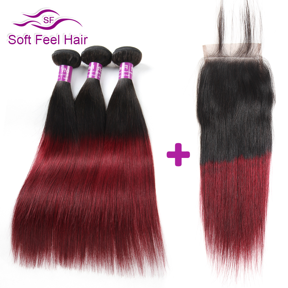 Soft Feel Hair Ombre Brazilian Straight Hair Bundles With Closure Burgundy Ombre Human Hair 3 Bundles With Closure 99J Remy Hair