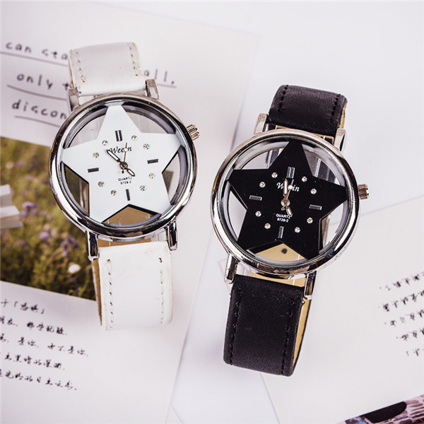2018 New Brand Wecin Cute Five-pointed Star Designer Style Wholesale Female Watch Lovely Pu Leather Nice Women Clock Oem Time