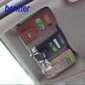 Sol do carro do carro de Couro genuíno titular do cartão clipe vidro do carro para KIA K2 K3 K5 K6 Sportage R