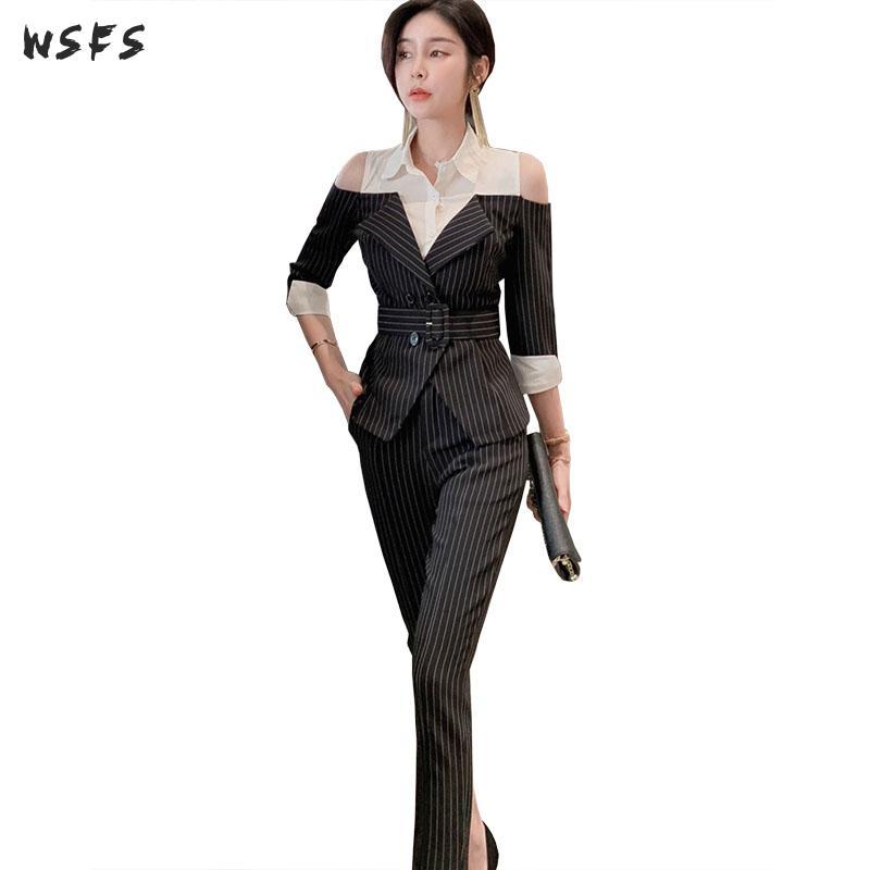 2 Pieces Set Spring Business Womens Shirt Off Shoulder Black Striped Suit Jacket Elegant Long Pant Korean Work Office Lady Suits For Improving Blood Circulation