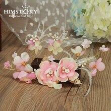 HIMSTORY Pretty Pink Feather Flower Hairband Bridal Headband Handmade Wedding Tiara Accessories Hair Jewelry Women Hairwear