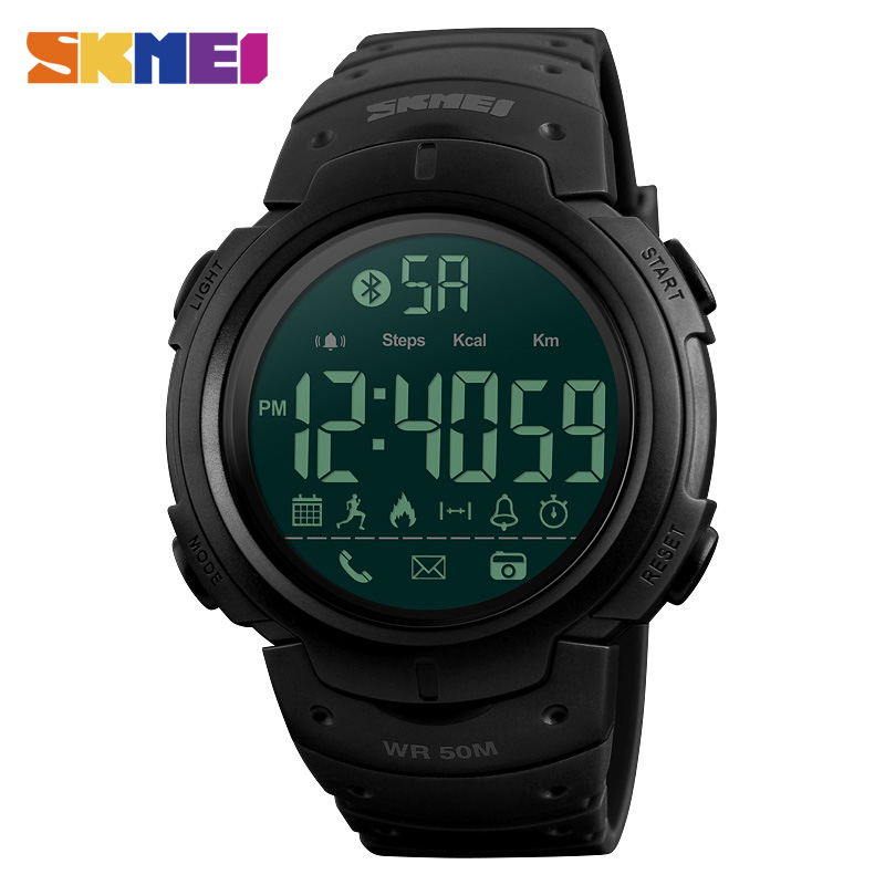 <font><b>SKMEI</b></font> Bluetooth Smart Watch Men Fashion Waterproof LED Display Outdoor Military Sports Watches Men Pedometer Digital Wristwatch image