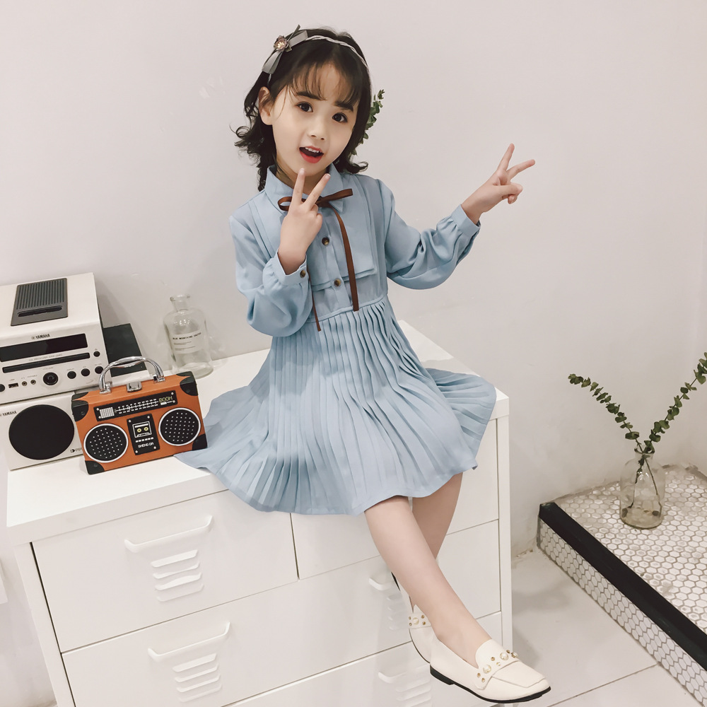 BOSTYED ruffles long-sleeved kids dresses turn down collar with tie solid color Pleated chiffon mini kids dresses for girls 2018 stylish solid color lightweight pleated scarf for women